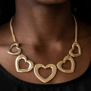 """Hearty Hearts""-Glistening Gold Heart Necklace Set"